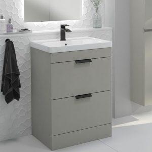 Stockholm 2 Drawer Artic Grey Vanity Unit With Black Handles