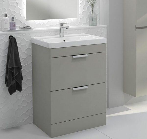 Stockholm 2 Drawer Artic Grey Vanity Unit With Chrome Handles