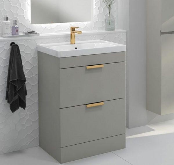Stockholm 2 Drawer Artic Grey Vanity Unit With Gold Handles