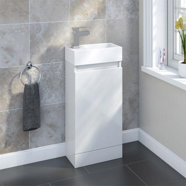 Benni 455mm Floorstanding Cloakroom Unit White