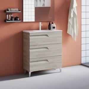 Brava Natural White Floorstanding Vanity Unit