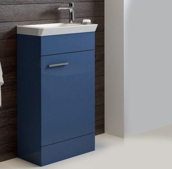 Charm 450mm Gloss Blue Floorstanding Cloakroom Unit