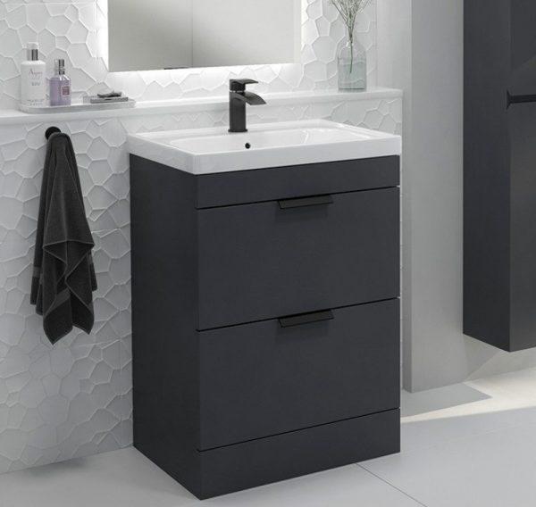 Stockholm 2 Drawer Midnight Grey Vanity Unit With Black Handles