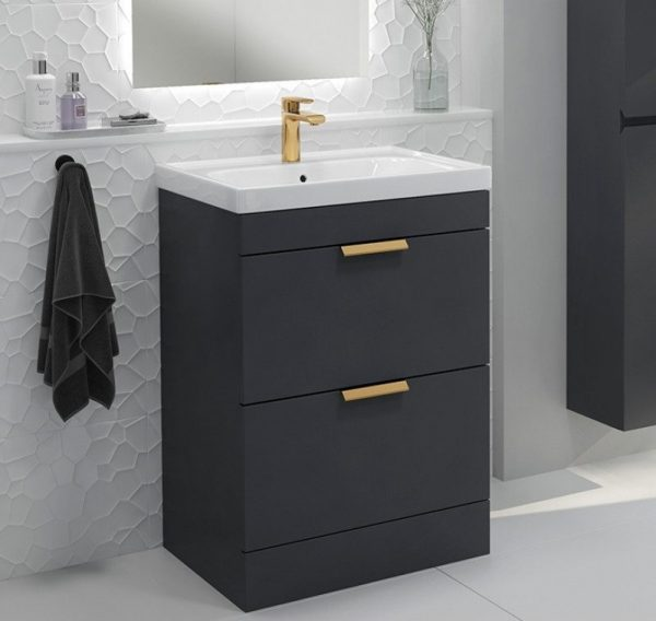 Stockholm 2 Drawer Midnight Grey Vanity With Gold Handles