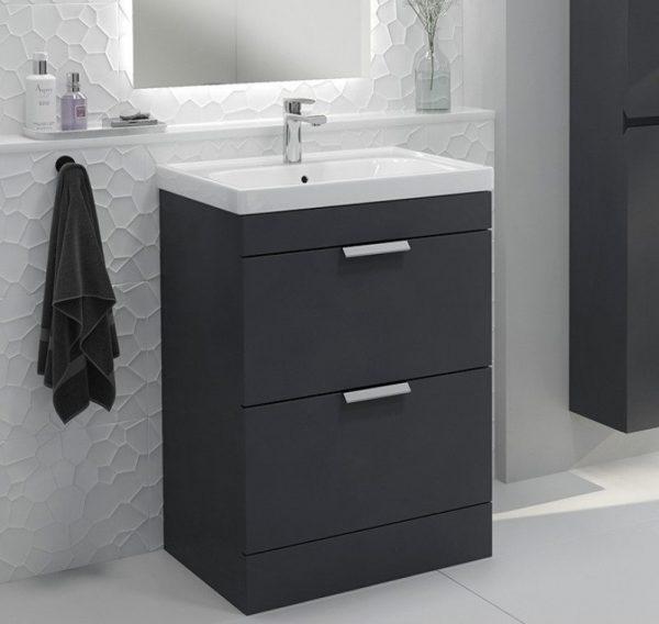 Stockholm 2 Drawer Midnight Grey Vanity Unit With Chrome Handles