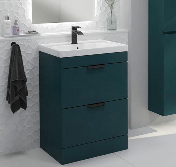Stockholm 2 Drawer Ocean Blue Vanity Unit With Black Handles