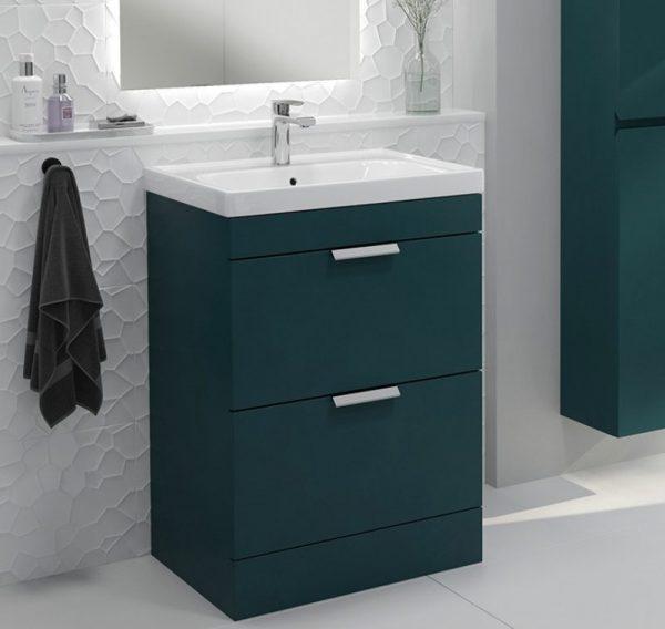 Stockholm 2 Drawer Ocean Blue Vanity Unit With Chrome Handles