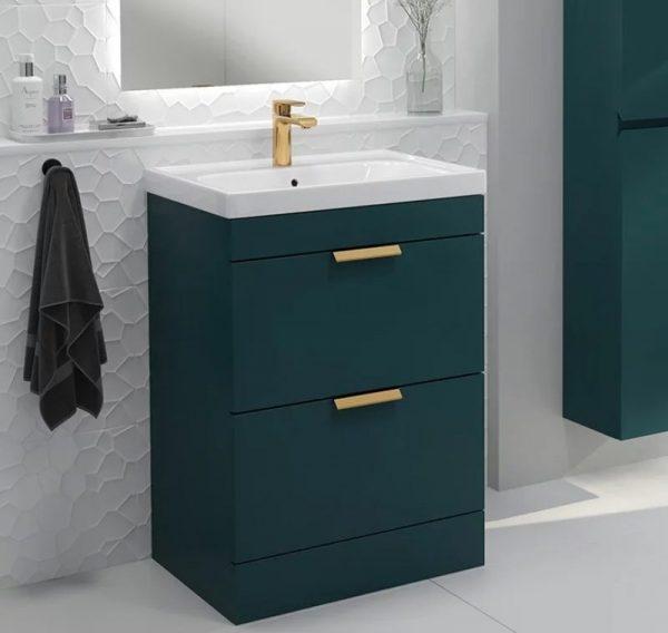 Stockholm 2 Drawer Ocean Blue Vanity Unit With Gold Handles