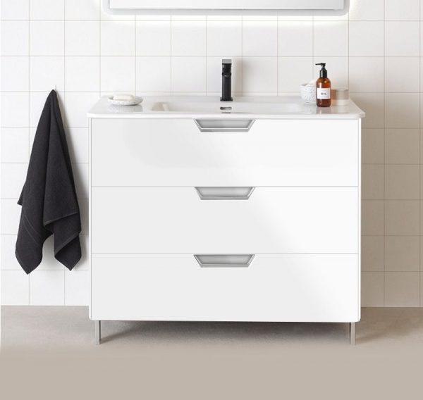 Lyon Gloss White 800mm Floorstanding Vanity Unit