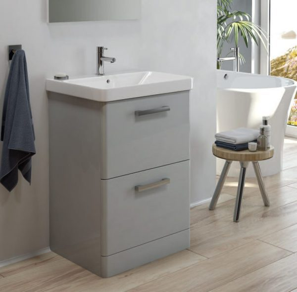Odeon Cool Grey 2 Drawer Floorstanding Vanity Unit