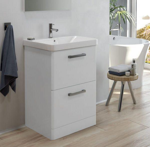 Odeon Gloss White 2 Drawer Floorstanding Vanity Unit
