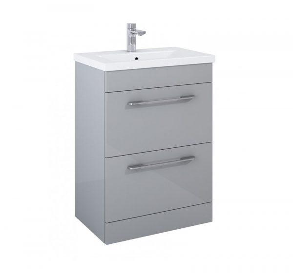 Otto Gloss Light Grey 2 Drawer Floorstanding Vanity Unit