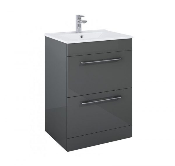 Otto Gloss Grey 2 Drawer Floorstanding Vanity Unit