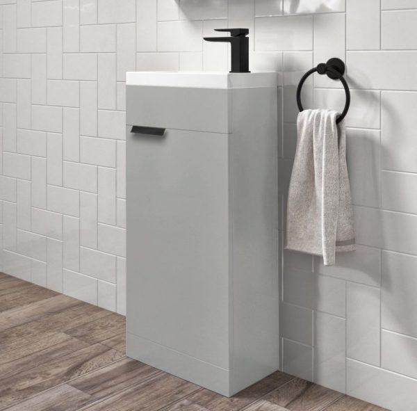 Stockholm 450mm Arctic Grey Floorstanding Cloakroom Unit With Black Handles