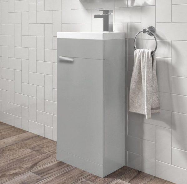 Stockholm 450mm Arctic Grey Floorstanding Cloakroom Unit With Chrome Handles