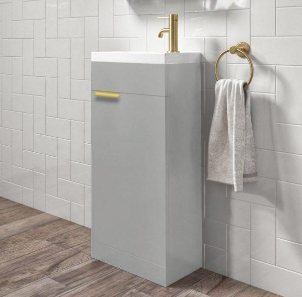 Stockholm 450mm Arctic Grey Floorstanding Cloakroom Unit With Gold Handles