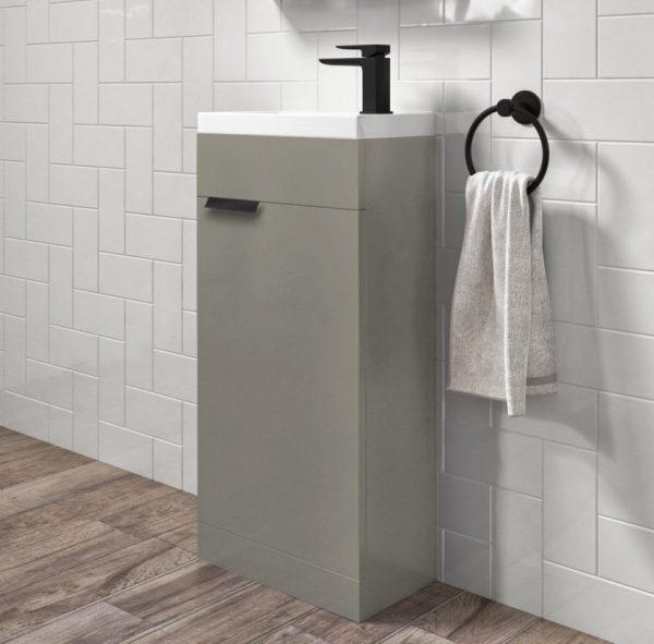 Stockholm 450mm Matt Khaki Floorstanding Cloakroom Unit With Black Handles