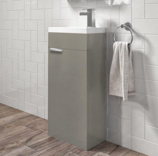 Stockholm 450mm Matt Khaki Floorstanding Cloakroom Unit With Chrome Handles