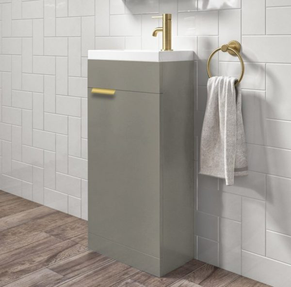 Stockholm 450mm Matt Khaki Floorstanding Cloakroom Unit With Gold Handles