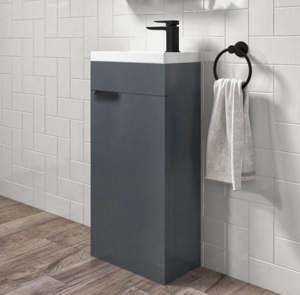 Stockholm 450mm Midnight Grey Floorstanding Cloakroom Unit With Black Handles