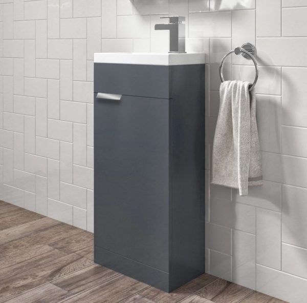 Stockholm 450mm Midnight Grey Floorstanding Cloakroom Unit With Chrome Handles