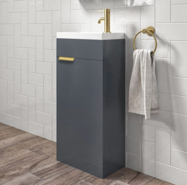 Stockholm 450mm Midnight Grey Floorstanding Cloakroom Unit With Gold Handles