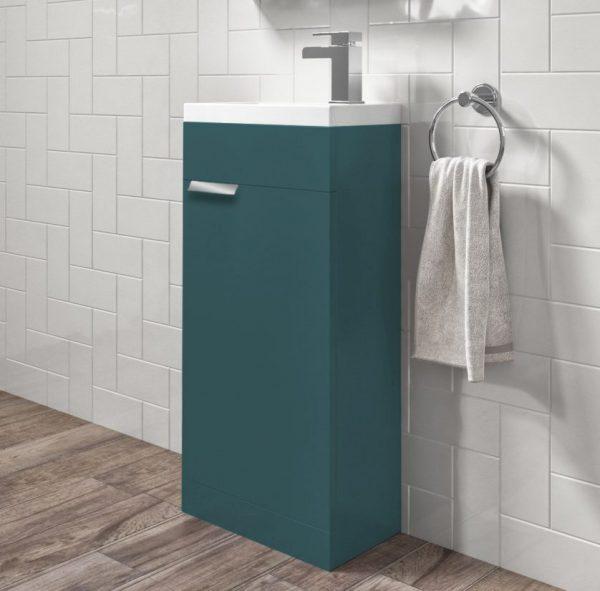 Stockholm 450mm Ocean Blue Floorstanding Cloakroom Unit