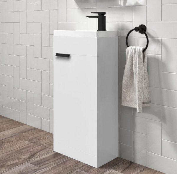 Stockholm 450mm White Floorstanding Cloakroom Unit With Black Handles