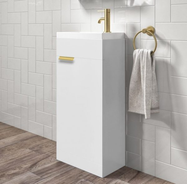 Our Stockholm 450mm White Floorstanding Cloakroom Unit With Gold Handles