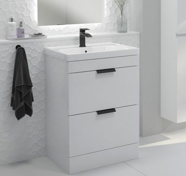 Stockholm 2 Drawer Gloss White Vanity Unit With Black Handles
