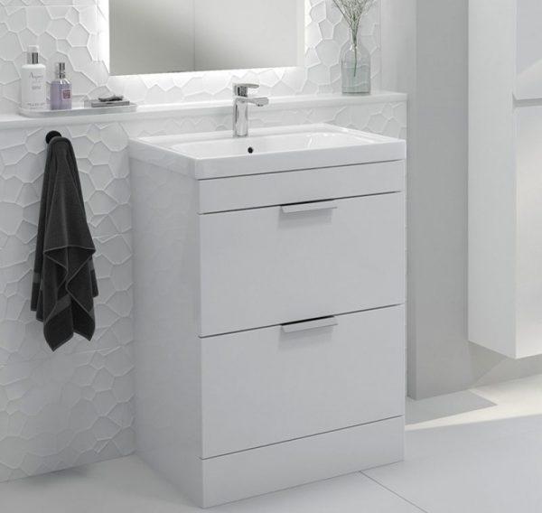 Stockholm 2 Drawer Gloss White Vanity Unit With Chrome Handles