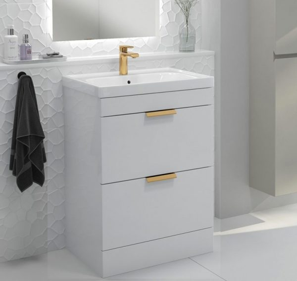 Stockholm 2 Drawer Gloss White Vanity Unit With Gold Handles