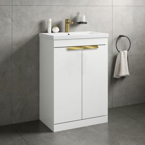 Stockholm 2 Door Gloss White Vanity Unit With Gold Handles