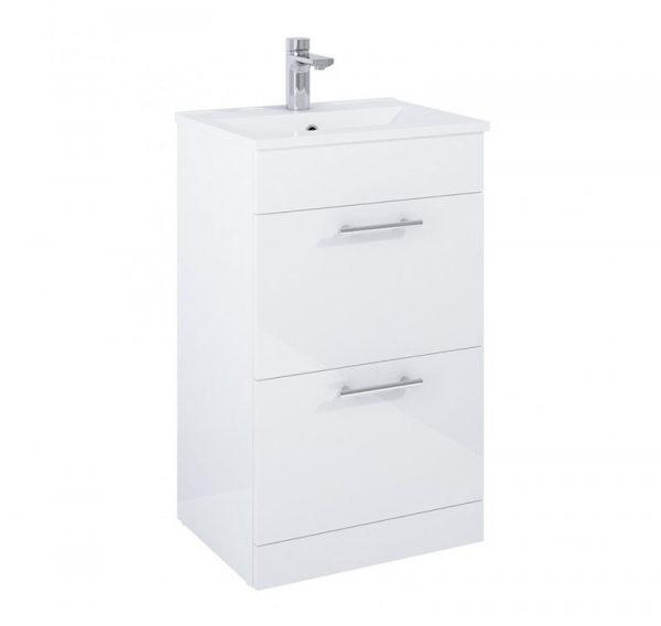 Belmont 2 Drawer Gloss White Floostanding Unit