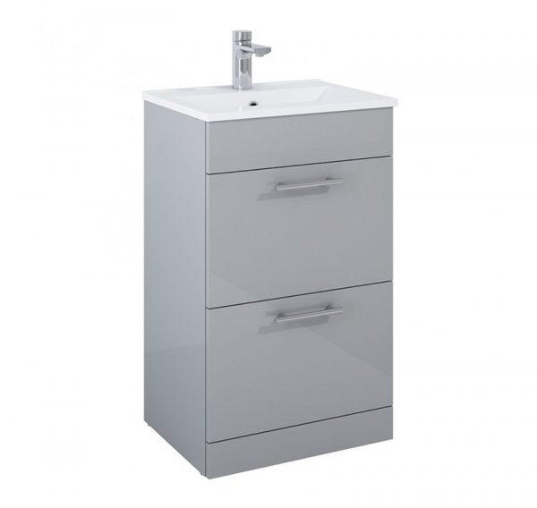 Belmont 2 Drawer Gloss Light Grey Floostanding Unit