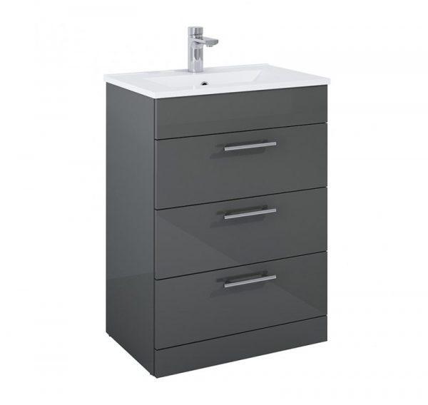 Belmont 3 Drawer Gloss Grey Floostanding Unit