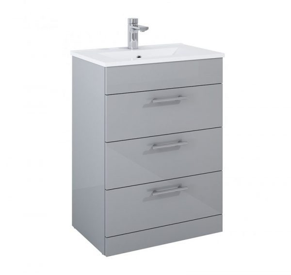 Belmont 3 Drawer Gloss Light Grey Floostanding Unit