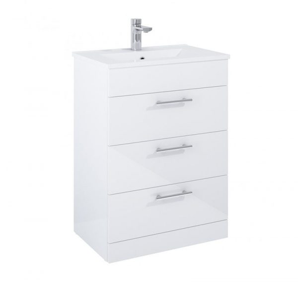 Our Belmont 3 Drawer Gloss Grey Floostanding Cloakroom Unit combines a designer look with practical storage. Nationwide delivery Ireland & UK.