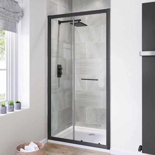 black bifold shower enclosure