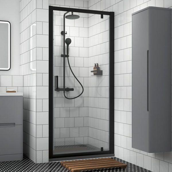 black pivot shower door